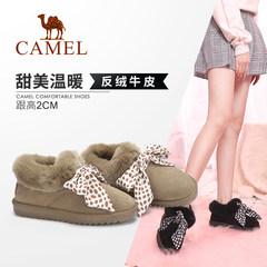 骆驼女鞋2018冬季新款 时尚韩版百搭短靴子休闲靴子平跟雪地靴女