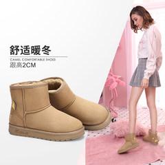 骆驼女鞋2018冬季新款加绒靴子棉鞋纯色简约韩版短筒靴保暖雪地靴
