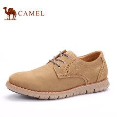骆驼男鞋春冬季韩版男士休闲易搭皮鞋子男式系带透气真磨砂皮板鞋