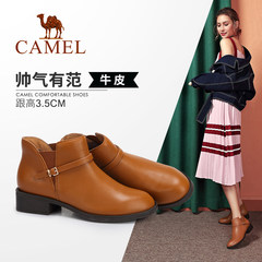 骆驼女鞋 马丁靴女英伦风学生韩版百搭真皮舒适保暖靴子粗跟短靴
