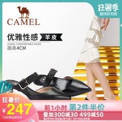 骆驼女鞋 2019春季新品 时尚摩登细跟穆勒鞋复古织带羊皮包头鞋女