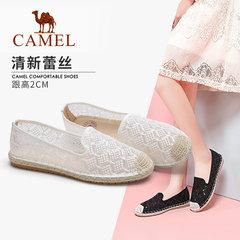 骆驼女鞋2019春夏新品渔夫鞋镂空蕾丝一脚套松糕手工懒人帆布鞋