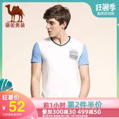 Camel/骆驼男装 夏季柔软V领修身时尚印花青年春休闲短袖T恤衫男