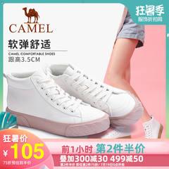 骆驼女鞋2019新款高帮百搭韩版板鞋厚底时尚鞋头网红女鞋休闲鞋