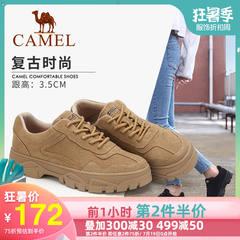 骆驼女鞋2019秋季新款鞋子女韩版潮流百搭板鞋英伦潮鞋反绒休闲鞋