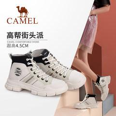骆驼女鞋2019秋季新款潮流拼色系带帆布鞋女 休闲街头风高帮鞋女