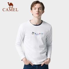 骆驼男装 2019秋季新款男士纯棉长袖t恤衫韩版圆领打底衫上衣潮