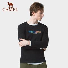 骆驼男装 2019秋季新款圆领长袖T恤男士纯棉上衣打底衫印花潮