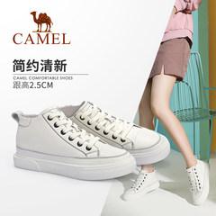 骆驼女鞋2019秋季新款学生韩版板鞋百搭高帮鞋网红潮真皮小白鞋女