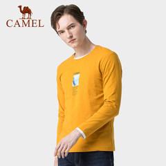 骆驼男装 2019春秋季新款男士长袖t恤韩版潮流圆领印花上衣打底衫