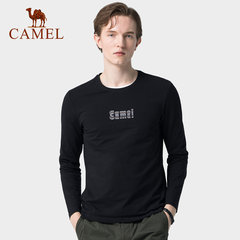 骆驼男装 2019秋季新款长袖男士韩版体恤圆领印花上衣服打底衫t恤