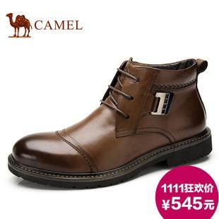 camel骆驼男靴 真皮牛皮绒毛冬季新款保暖短筒靴商务正装皮靴