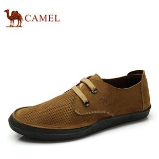 camel 骆驼男鞋 日常休闲系带男鞋 反绒牛皮 复古风春季新款板鞋