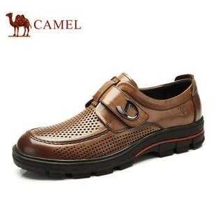 camel骆驼男鞋 春季新款韩版魔术贴板鞋商务正装真皮透气冲孔鞋