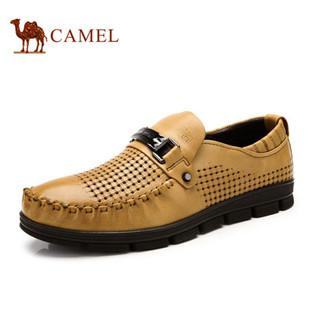 camel骆驼男鞋春季新款透气懒人鞋 商务休闲正品系带皮鞋时尚潮