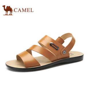 camel 骆驼男鞋 休闲时尚男士凉鞋 头层牛皮新款沙滩鞋潮流凉鞋