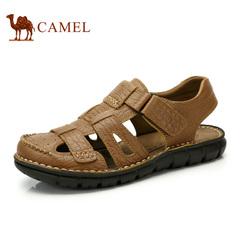 Camel/骆驼男鞋凉鞋真皮魔术贴复古真皮凉鞋 日常休闲舒适沙滩鞋