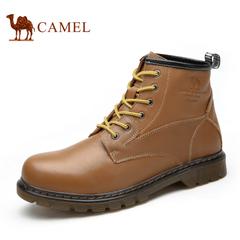 【情侣款】Camel骆驼 牛皮靴子男女靴子 潮流休闲短筒短靴马丁靴
