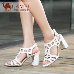 Camel骆驼女鞋 简约优雅 腕带粗高跟牛漆皮镂空2015春夏凉鞋