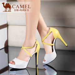 Camel骆驼女鞋 优雅时尚 小蜥蜴纹羊皮包跟2015春夏高跟新款凉鞋