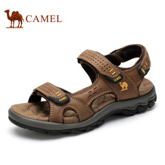 Camel/骆驼男鞋 2015夏季新品休闲沙滩凉鞋 魔术贴头层牛皮凉鞋男