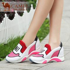 Camel骆驼女鞋 青春运动风2015夏新款内增高纳帕牛皮弹力布网布鞋