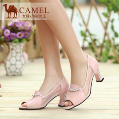 Camel骆驼 2015夏新款时尚优雅 头层珠光牛皮拼接网纱鱼嘴高跟鞋