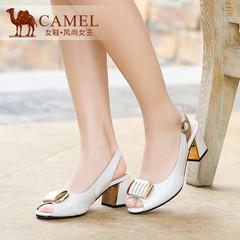 Camel骆驼鱼嘴凉鞋2015春夏季新款女鞋真皮搭扣粗跟凉鞋 女中跟