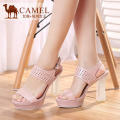 Camel骆驼女鞋 时尚优雅 羊皮金属扣超高跟防水台凉鞋 2015夏新款