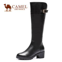 Camel/骆驼女靴 知性时尚女靴 2015牛皮圆头高跟拉链长靴 高筒靴