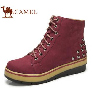 camel 骆驼女鞋 高帮鞋真皮磨砂皮系带坡跟铆钉潮流休闲鞋正品