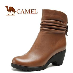 CAMEL骆驼女靴子 真皮牛皮 女士皮靴中筒靴 粗跟时装靴秋冬正品