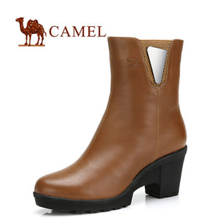 Camel 骆驼 头层牛皮 简约风尚休闲女靴 2012新款中筒靴 81058604
