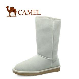 CAMEL骆驼女靴 套筒磨砂皮雪地靴 冬靴休闲圆头中筒靴 正品清仓