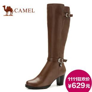 Camel駱駝女靴 粗跟皮帶扣長靴時尚休閑潮流時裝靴2013冬季新品