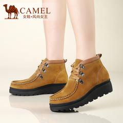 Camel骆驼女鞋 真皮磨砂皮坡跟中跟高帮鞋系带日常女士休闲鞋