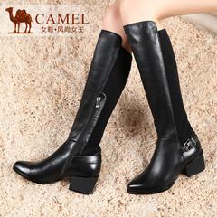 camel骆驼女靴 时尚简约 真皮高筒靴长靴子尖头高跟拉链骑士靴