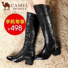 camel骆驼女靴 简约真皮高筒长靴尖头高跟拉链骑士靴