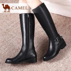 camel骆驼女靴 时尚优雅牛皮粗跟侧拉链优雅高筒靴时装靴