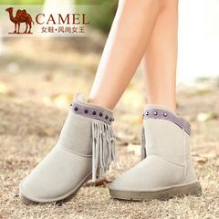 Camel骆驼女靴 加厚保暖真皮牛猄铆钉流苏雪地靴休闲简约短靴