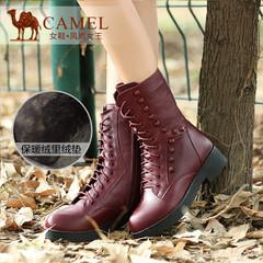 camel骆驼女靴 个性休闲简约圆头真皮牛皮中跟中筒靴马丁靴