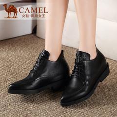 Camel骆驼女鞋 秋季复古英伦风尖头休闲鞋真皮中跟系带高帮鞋