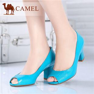 camel骆驼 女鞋正品 漆皮鱼嘴高跟单鞋时尚女单鞋 2014春季新款