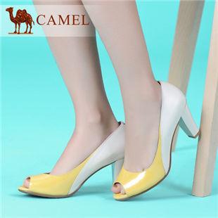 camel骆驼 女鞋 春季牛皮浅口鱼嘴单鞋漆皮拼色舒适 2014新款