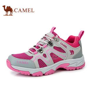 聚 骆驼登山鞋女鞋 休闲时尚网布透气运动鞋 女鞋春季新款正品