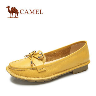 聚camel骆驼正品 女鞋单鞋 真皮休闲低跟浅口时尚 2014新款