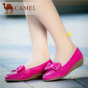 聚Camel骆驼 牛皮圆头浅口单鞋 甜美舒适坡跟女单鞋 2014春款