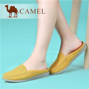 camel骆驼 女鞋 牛皮包头低跟日常休闲舒适女拖鞋 2014春季新款