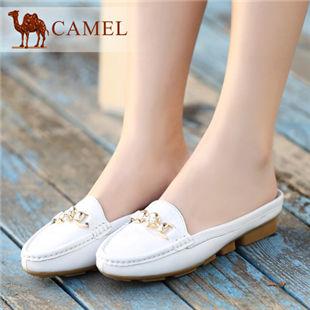 camel骆驼 羊皮包头低跟女拖鞋舒适休闲简便半拖鞋 2014春季新款