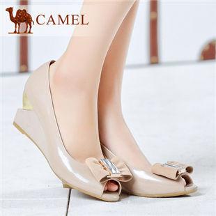 camel骆驼女鞋正品真皮坡跟蝴蝶结时尚浅口单鞋 2014春季新款